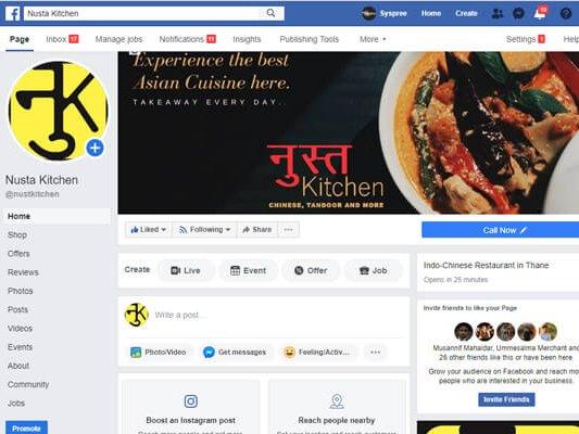 Web Designing and web development company in Mumbai SySpree client Nusta Kitchen Facebook page Performance marketing company in Mumbai