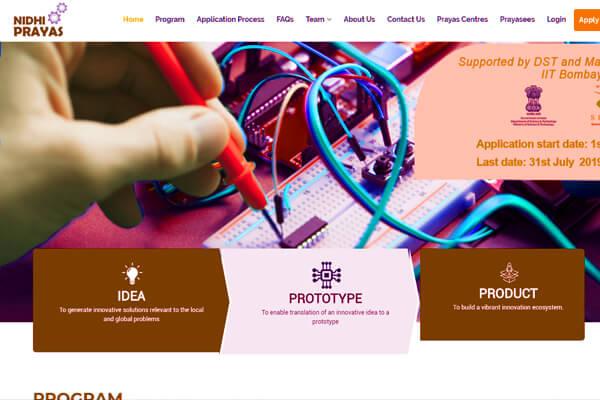Web application development client SINE IIT Mumbai nidhi Prayas