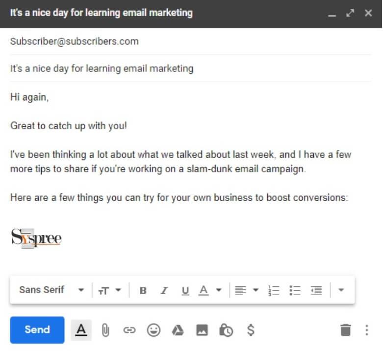 Email Example by Social Media Marketing Company in Mumbai